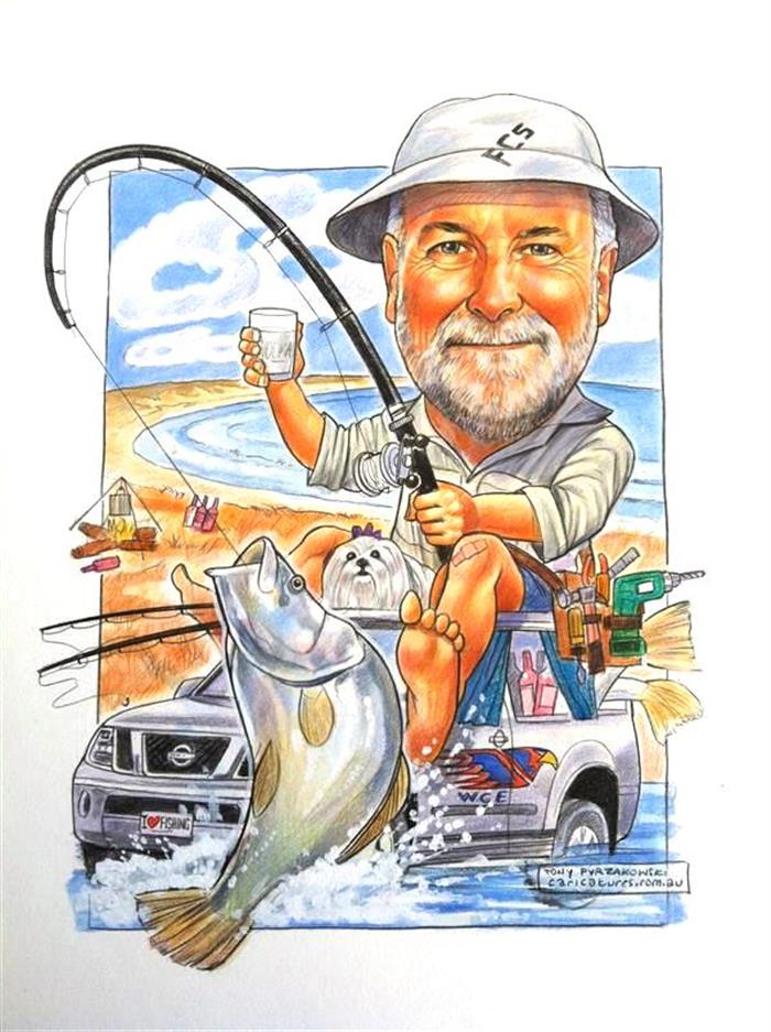 60th birthday caricature of a legendary fisherman