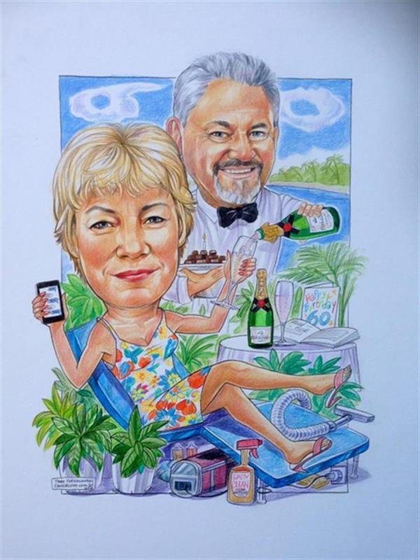 60th birthday and wedding anniversary caricature