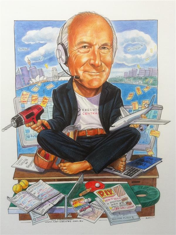 70th birthday caricature