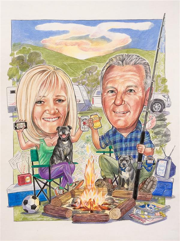 Terry and Vicki 25th wedding anniversary caricature
