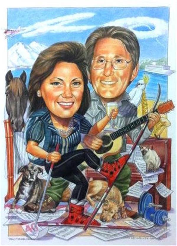 40th wedding Anniversary caricature including all the things they love, doggies, skiing, flying, music