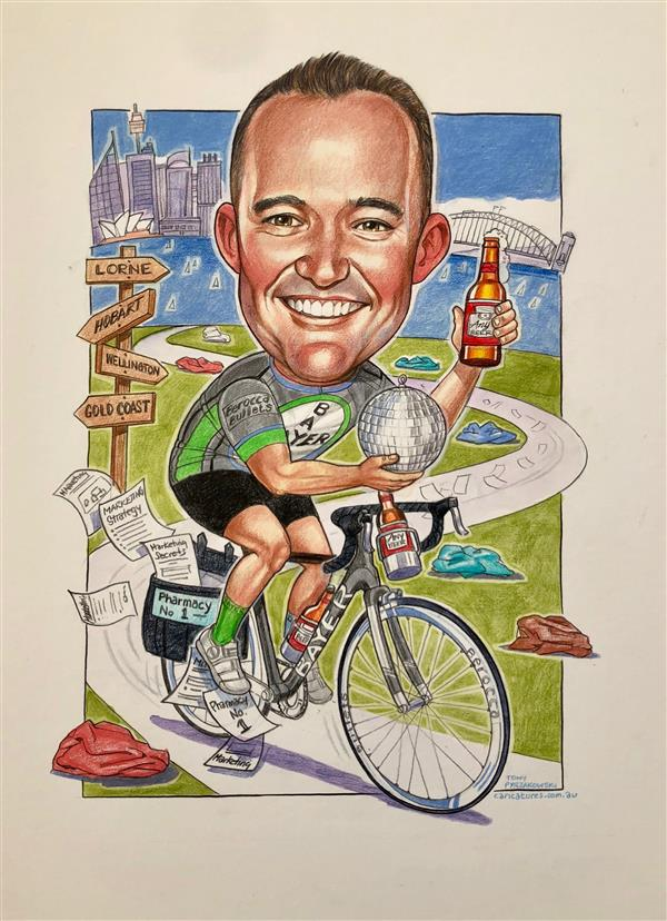 Bayer business caricature. Ken the legendary cyclist
