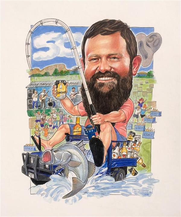Big D's birthday caricature