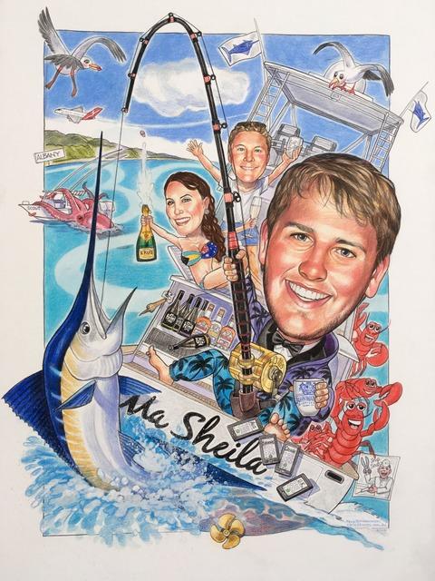 Game Fisherman Sports Caricature