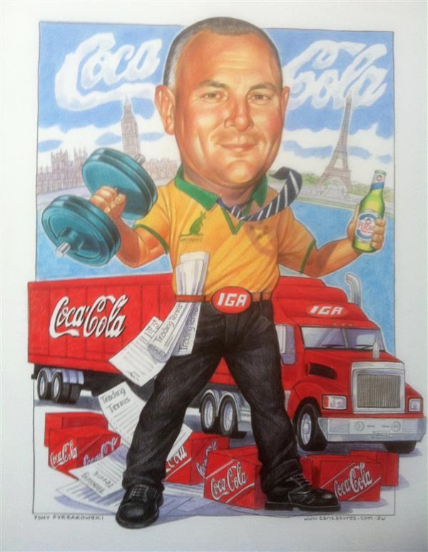 Coca Cola Amatil leaving gift caricature