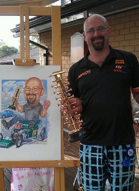 Dragster Champion Caricature