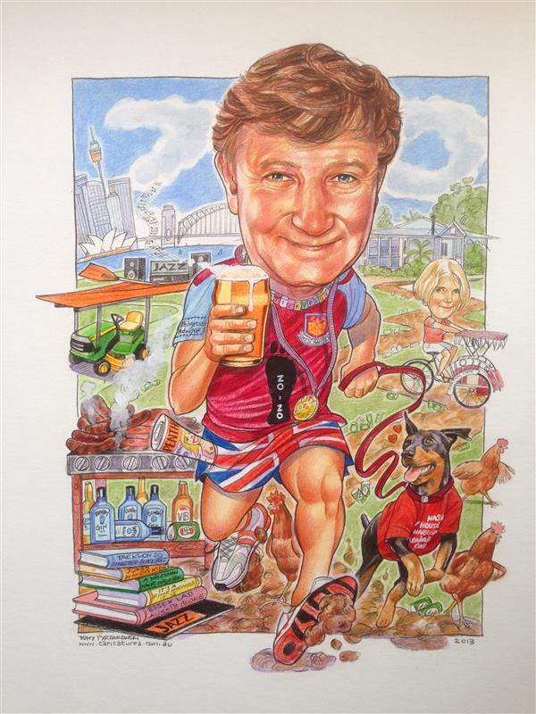 Hash House harriers 70th birthday caricature