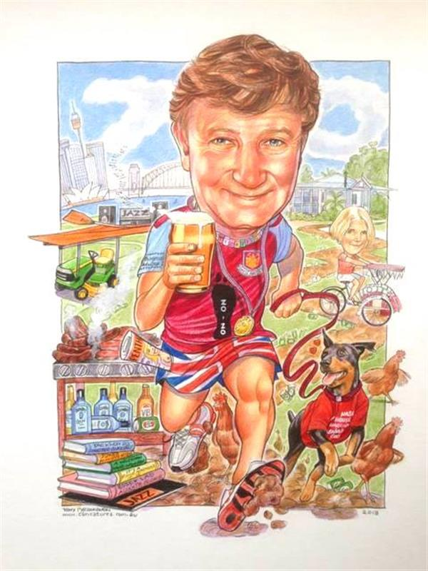 Birthday caricature for the Hash House harriers runner and his doggie