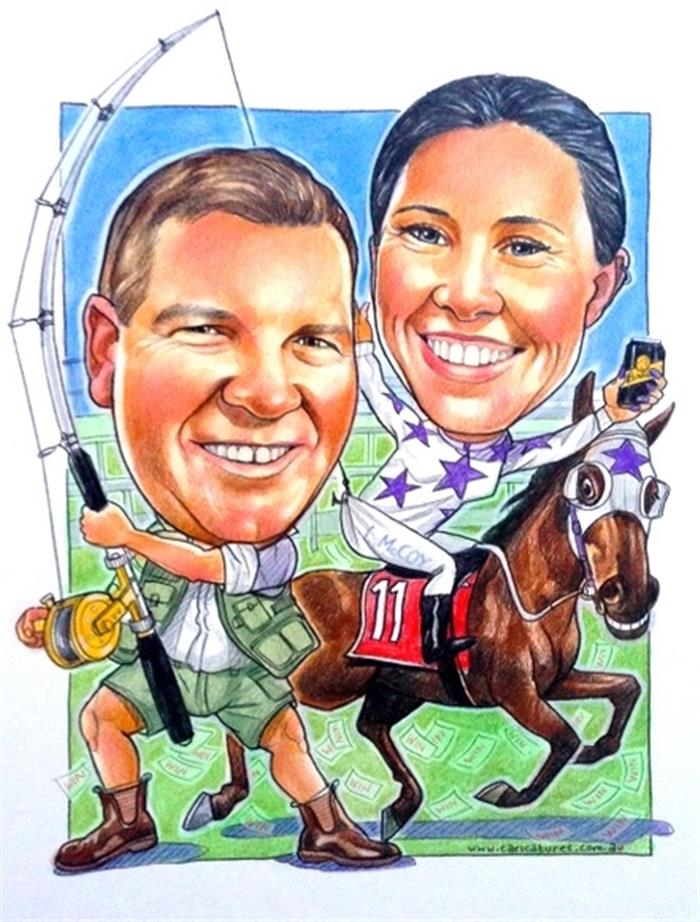 Champion jockey and legendary fisherman wedding caricature