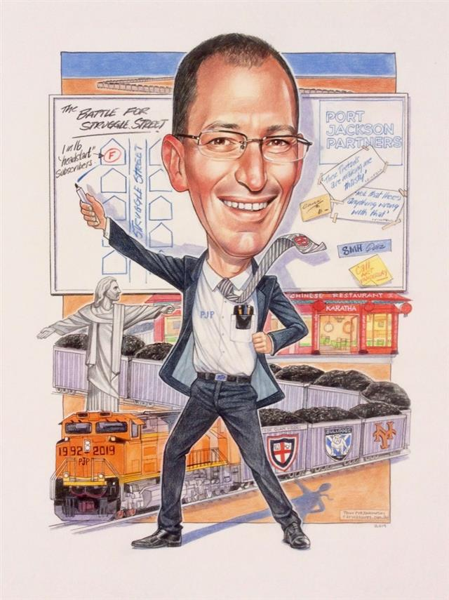 Corporate caricature leaving the company
