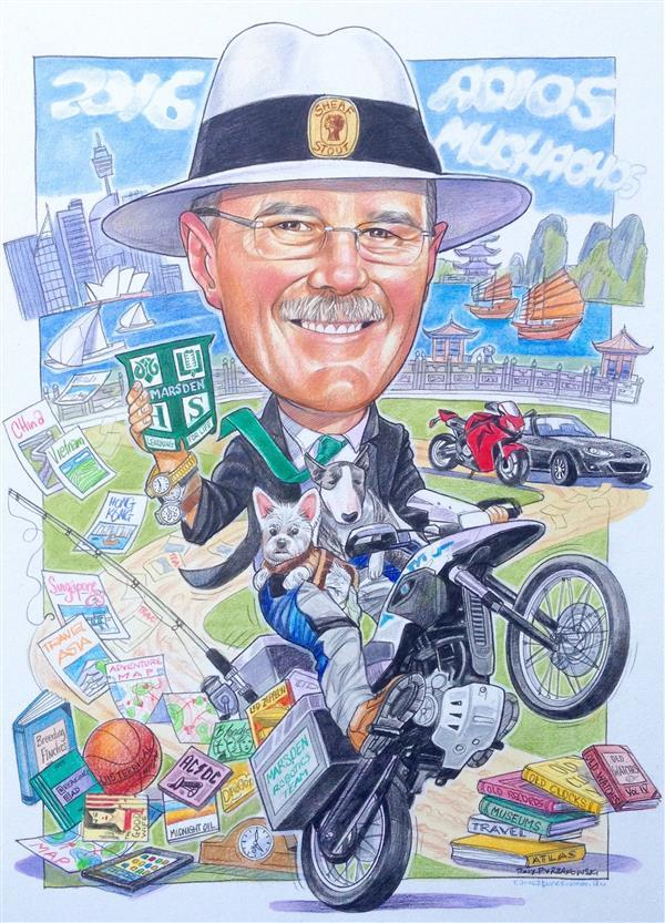 Marsden High schoolteacher was leaving to ride around the world. 'Adios Muchachos' caricature