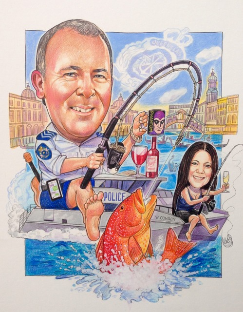 NSW Water Police Caricature