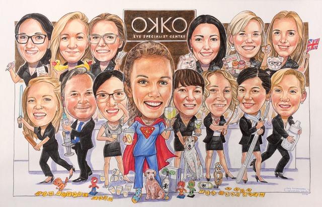 OKKO Eye Specialists Group Caricature