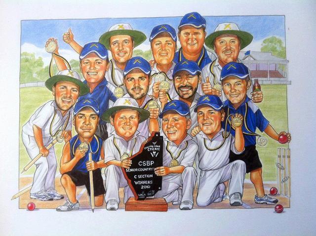 Seniors Cricket Team Group Caricature