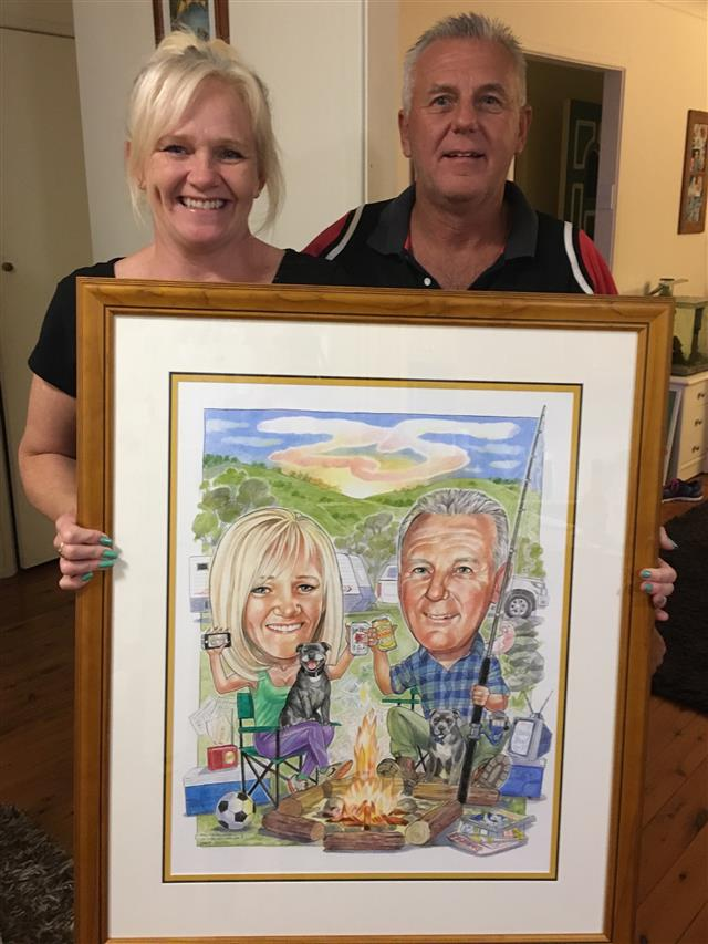 Terry and Vicki celebrating 25 happy years together. Anniversary caricature