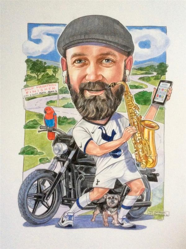 Andy, musician, spurs fan and bike rider, birthday caricature