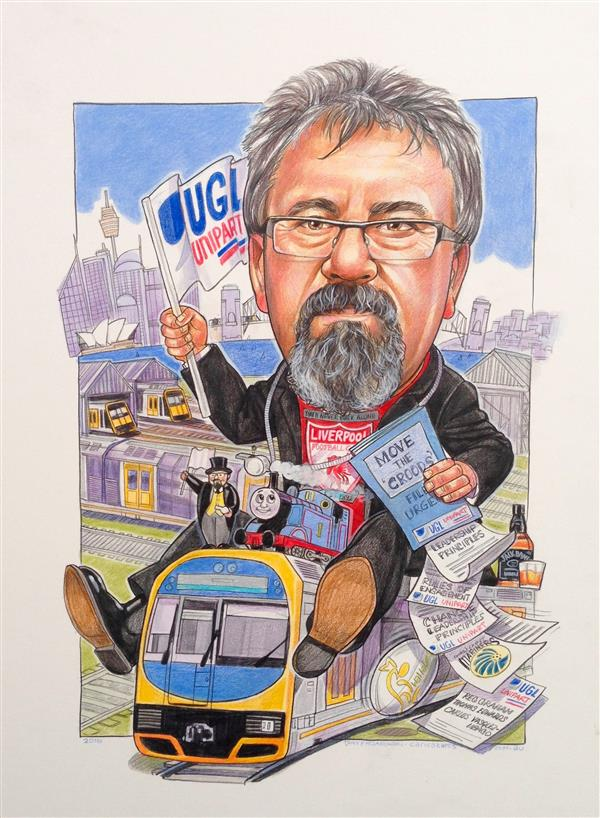 UGL-Unipart ,executive Train man leaving caricature