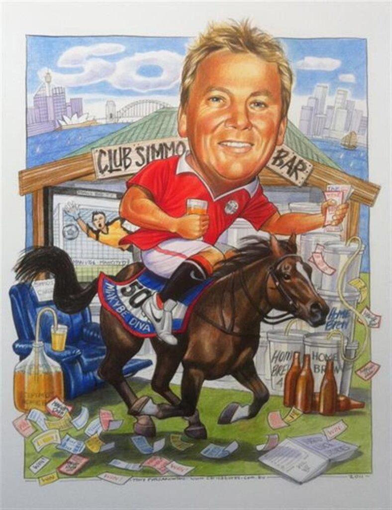 Craigs 50th birthday caricature sitting on Makybe diva