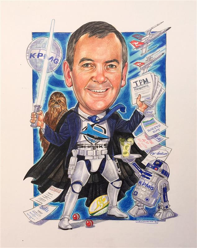 Big star wars and Sharkies fan retirement caricature