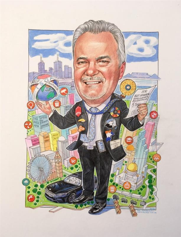Legendary executive retirement caricature from ISCA