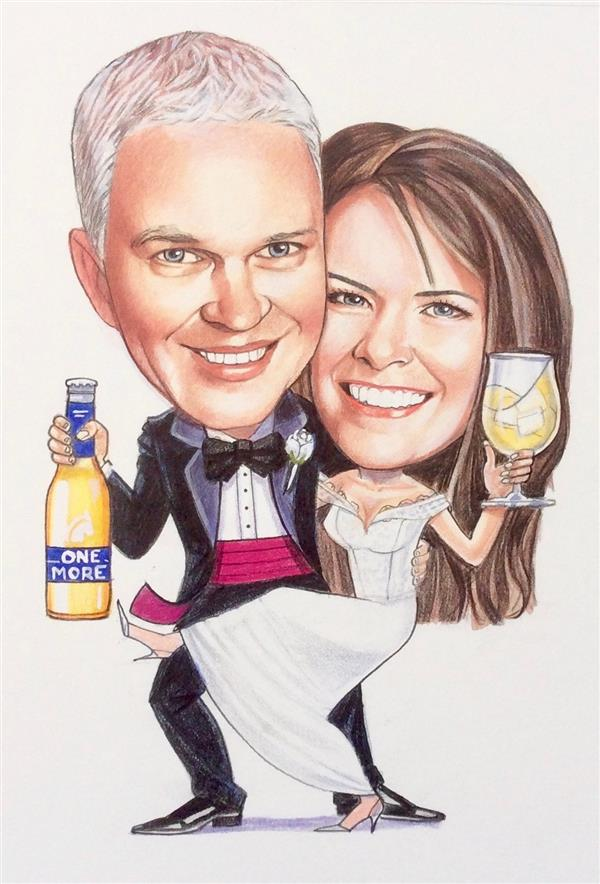Wedding caricature to be used on Stubby Holders for the guests