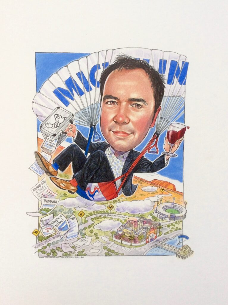 Michelin exc leaving company caricature